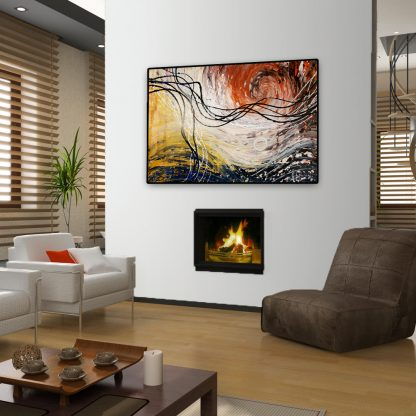 Casual Swirl above a fireplace